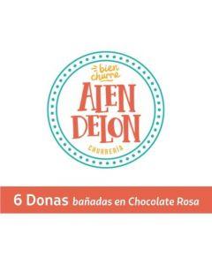 Ticket Box - 6 Donas Bañadas en chocolate rosa