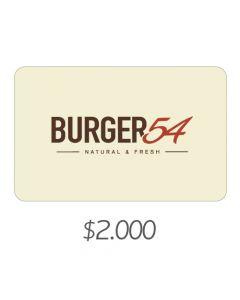 Burger 54 - Gift Card Virtual $2000