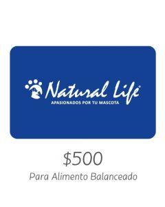 NATURAL LIFE - Gift Card Virtual $500- Para Alimento Balanceado