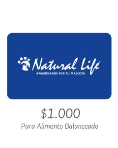 NATURAL LIFE - Gift Card Virtual $1000- Para Alimento Balanceado
