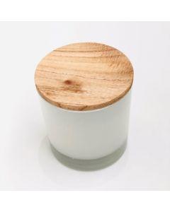 AGP - Vela en vaso pintado de blanco y tapa de madera paraíso.