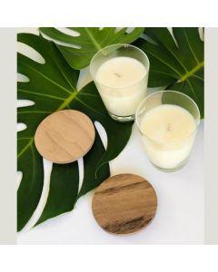 AGP - Set de 2 velas de soja con tapa de madera paraíso.