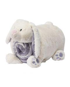 Manta Polar con almoahada de Peluche- Diseño conejo