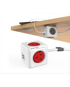Hogar - POWER CUBE - Prologandor eléctrico con puertos USB de 1.5 metros - Color: Blanco y rojo